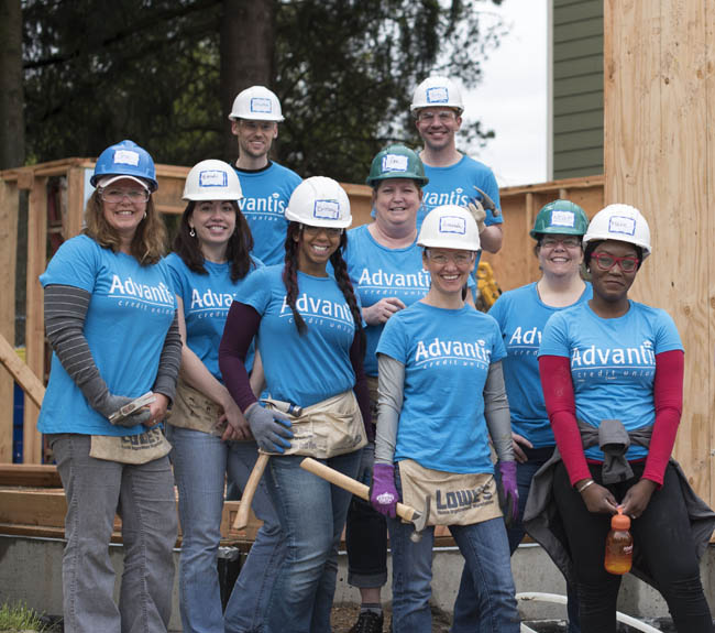 Volunteers at Habitat for Humanity.
