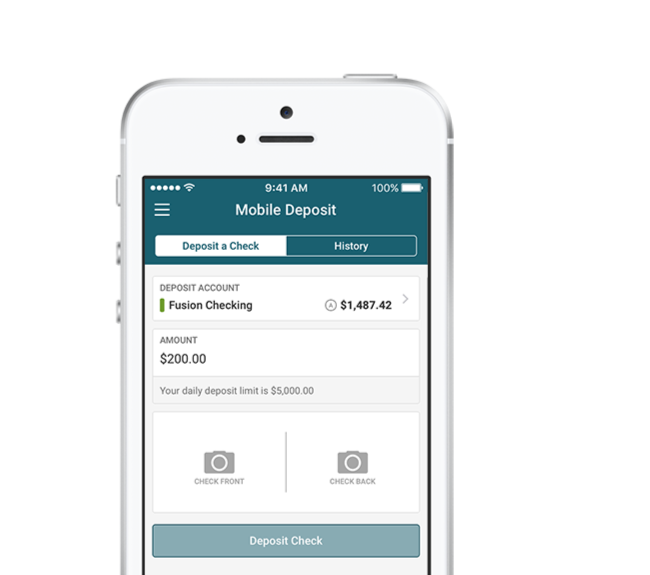 mobile view of Advantis website on mobile deposit page.