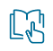 Finger pointing to a page in a book icon
