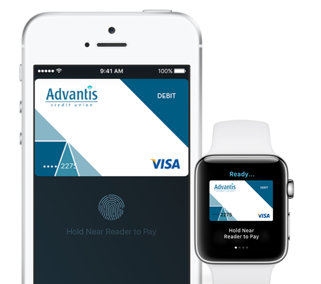 Mobile pay view of Advantis website on mobile and smart watch.