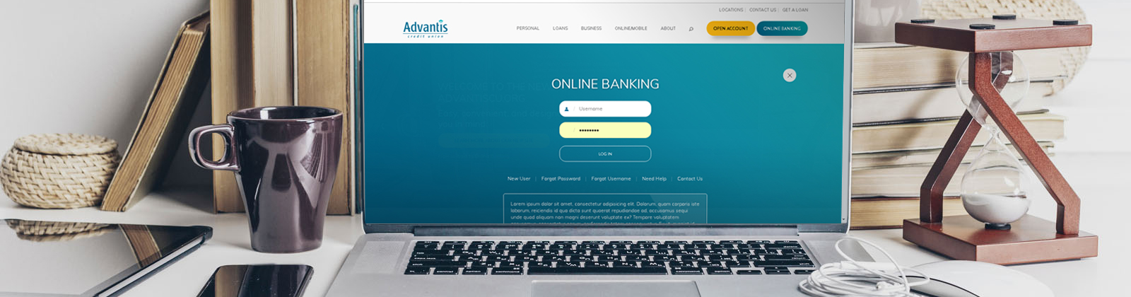 New Online Banking Website login displayed on a laptop