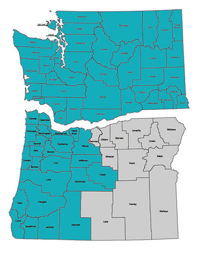 Washington and Oregon Map of counties that are eligible for credit union membership