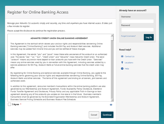 Register for Online Banking Access screen capture