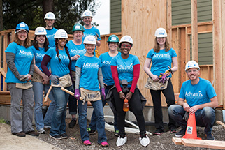 Advantis volunteers group shot at Habitat for Humanity